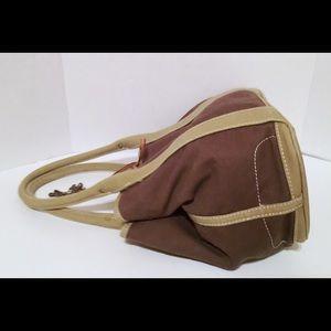 J. Crew Bags - J Crew Taupe/Gray Canvas Snap Side Tote Handbag